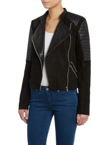 Ribbed sleeve leather jacket