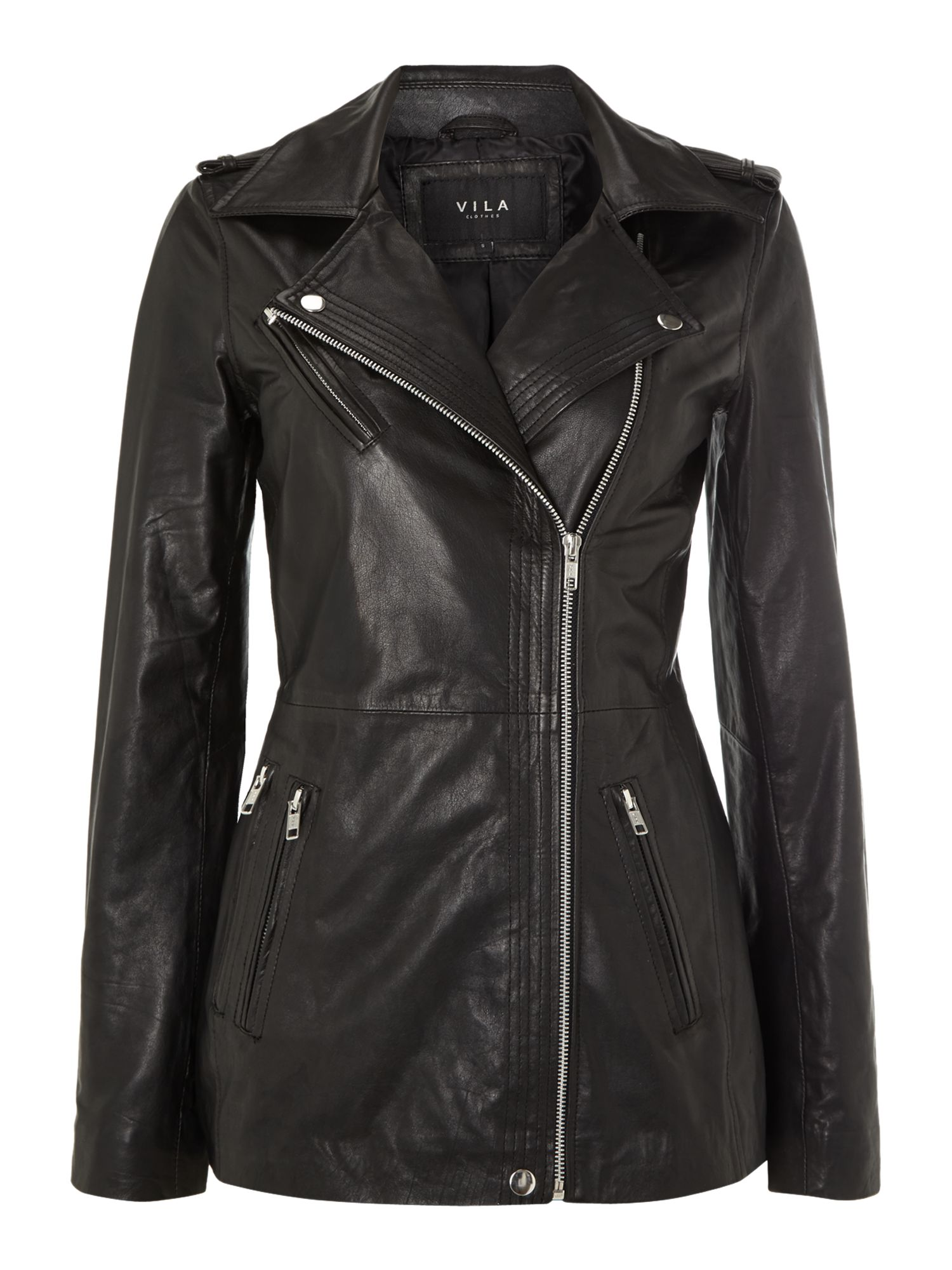 Long leather biker jacket