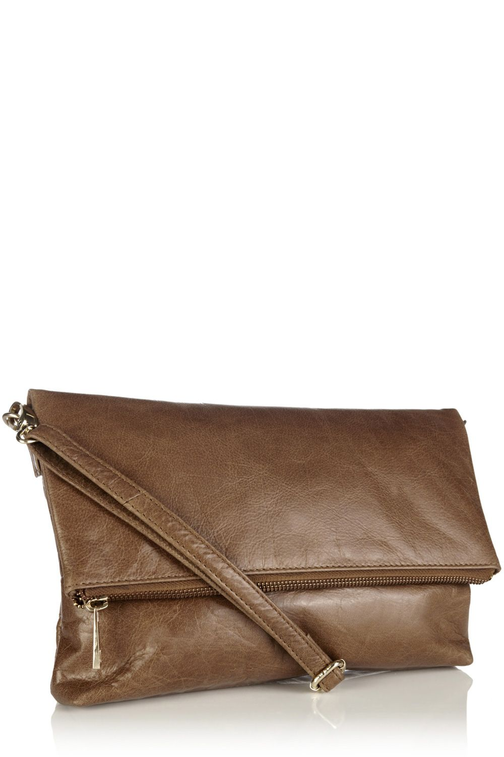 Leather fold over clutch bag