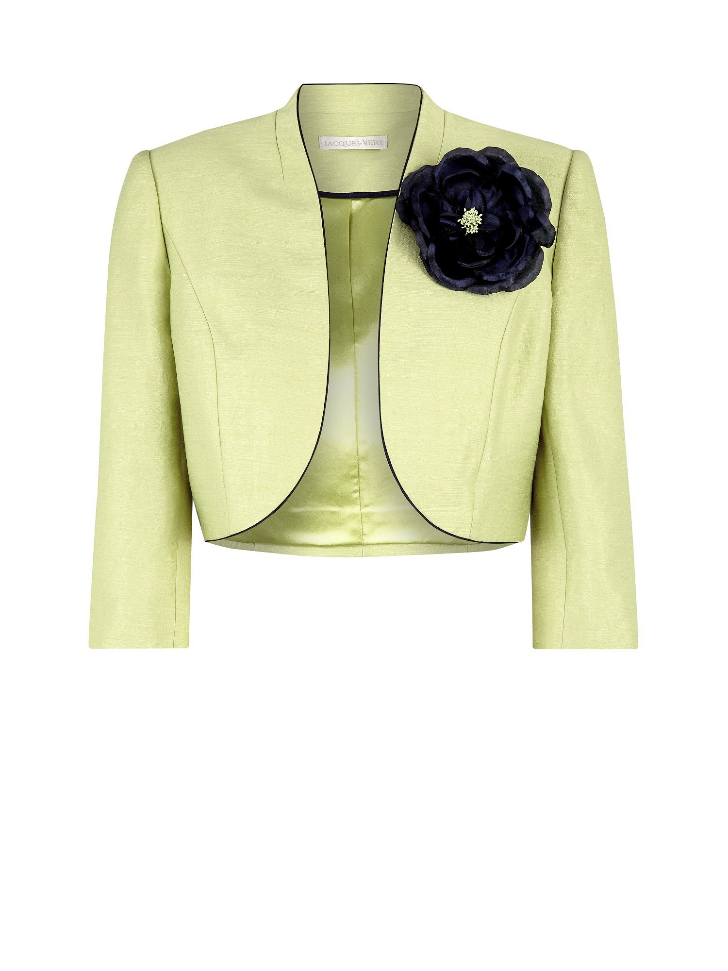 Lime piped bolero jacket