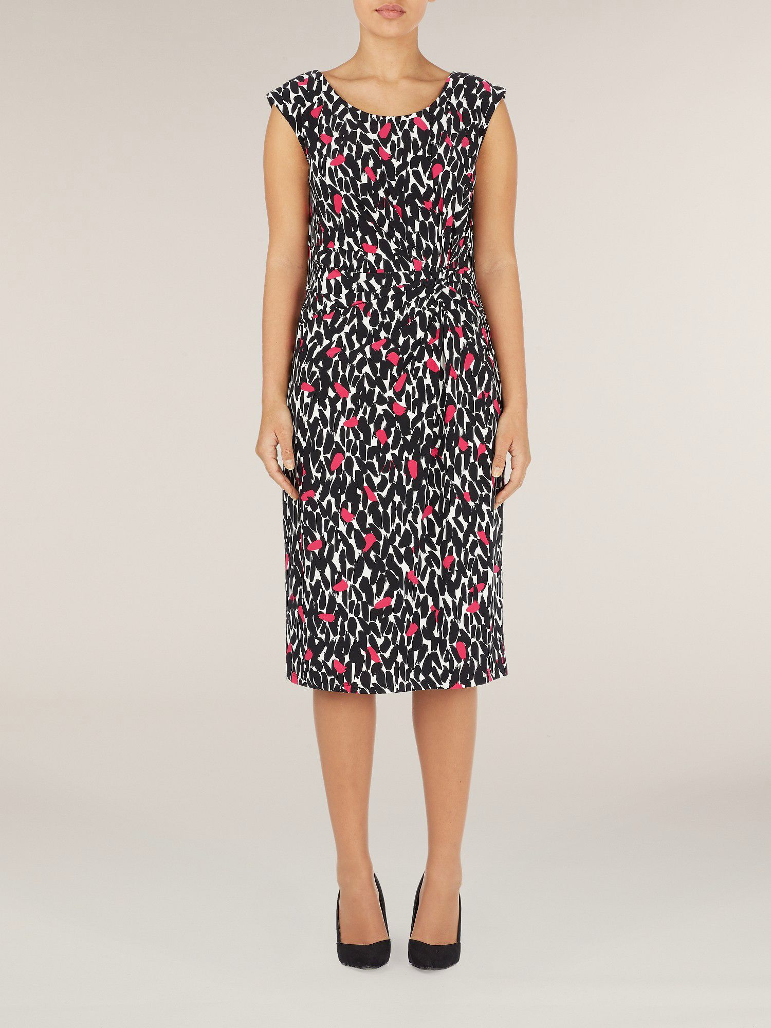 Sleeveless peony leaf print dress