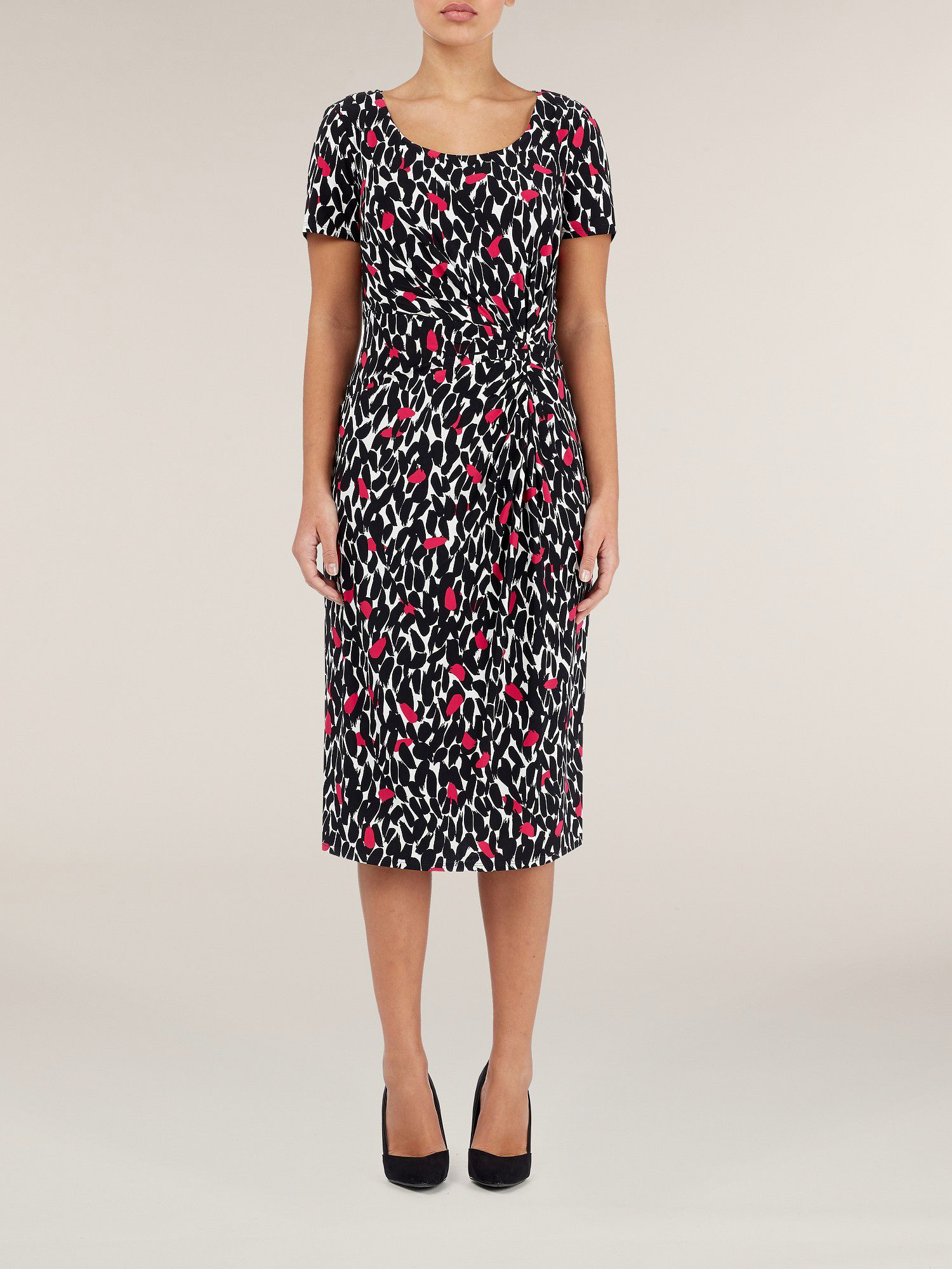 Short sleeved peony leaf print dress