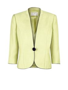 Lime piped one-button jacket