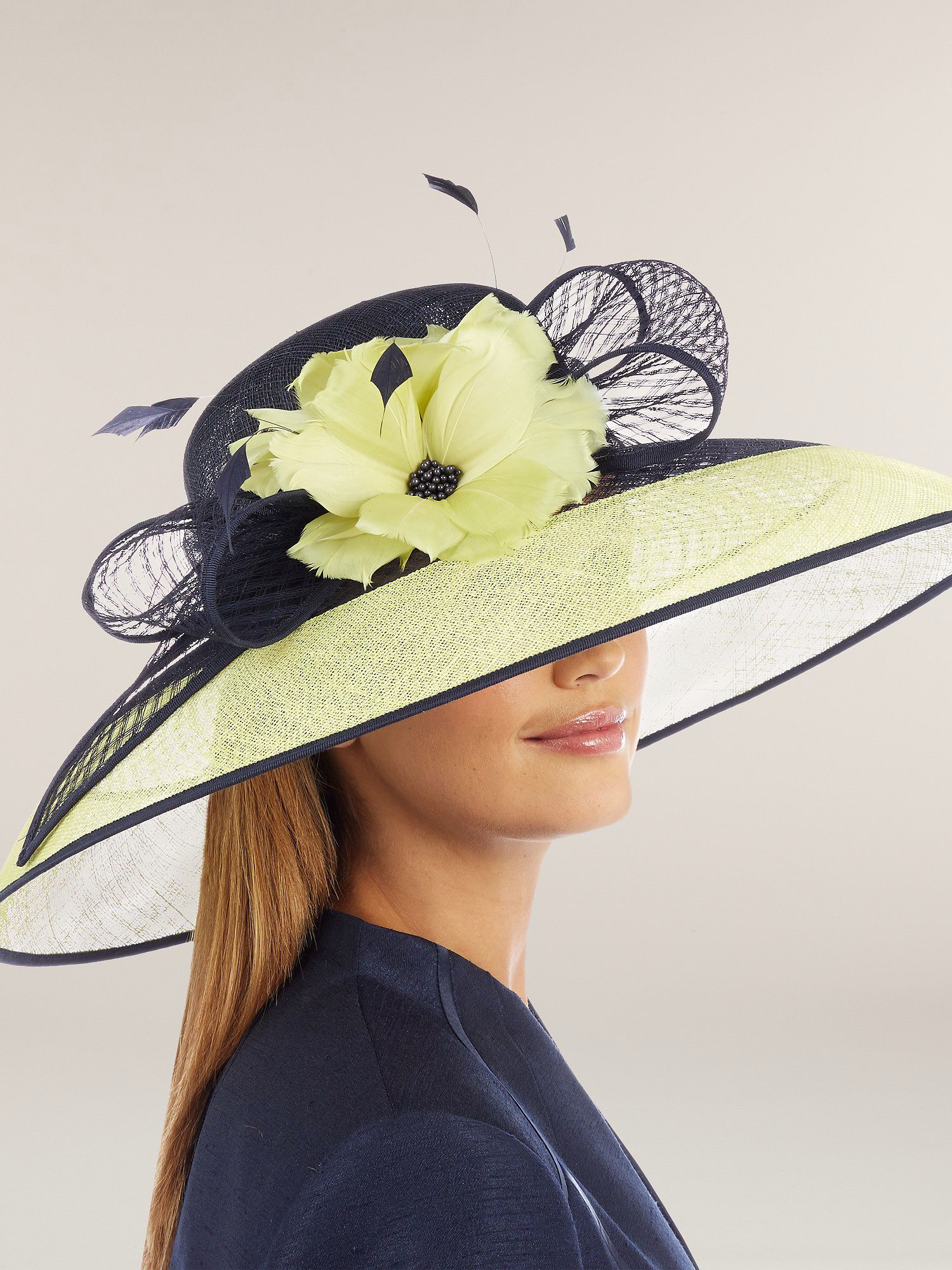 Lime & navy corsage detail hat