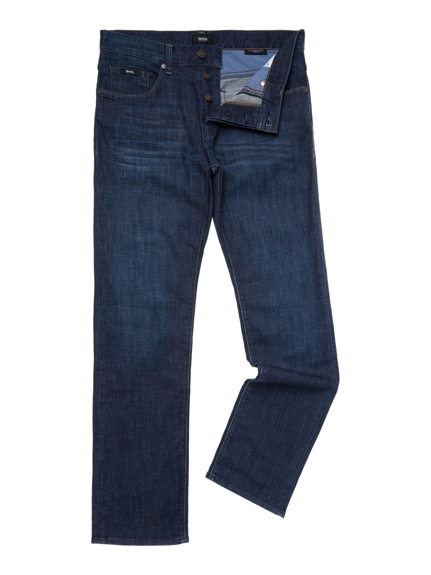 Maine mid blue wash regular straight leg jean