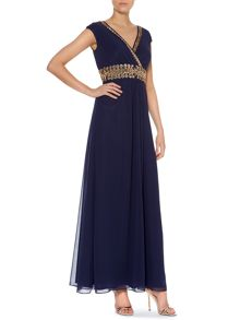 Beaded waist cap sleeve dress