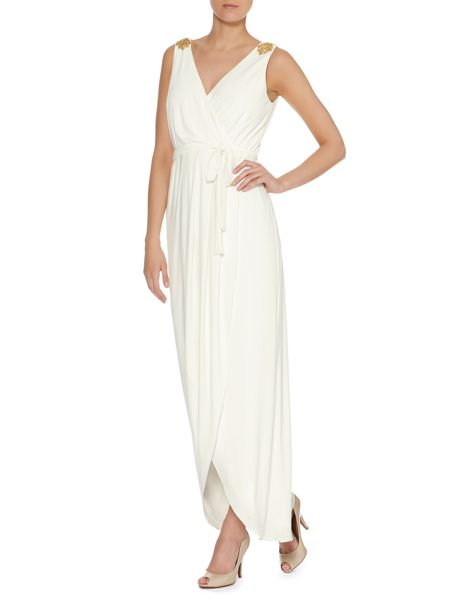 Ariella V neck gown with shoulder jewel
