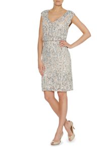 Blouson dress with floral beading