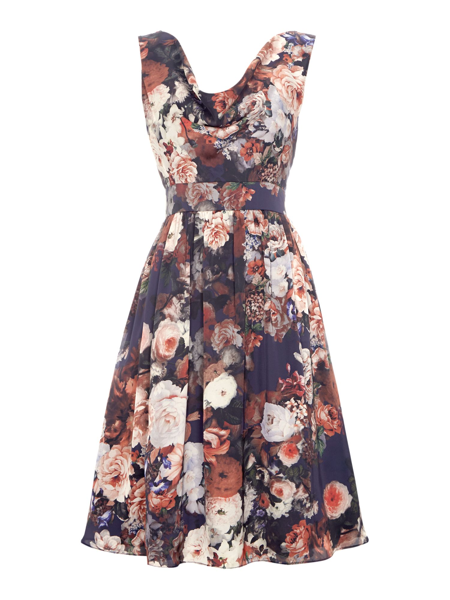 Cowl neck floral shift dress