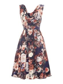 Cowl neck floral dress