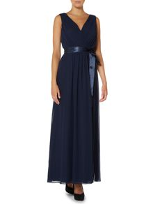 Pleated chiffon dress with tie waist
