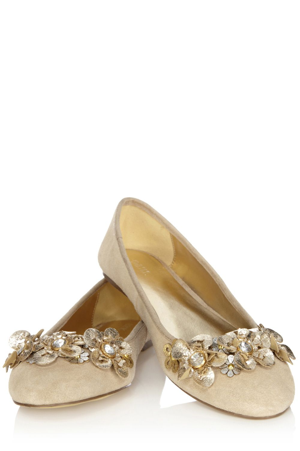 Metallic flower ballerina pumps