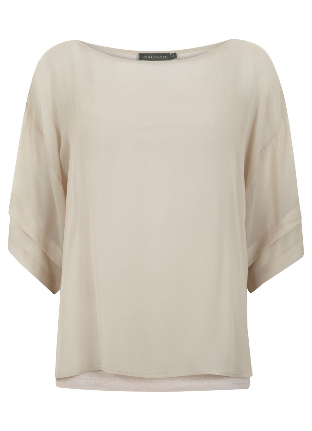 Neutral pleat sleeve top