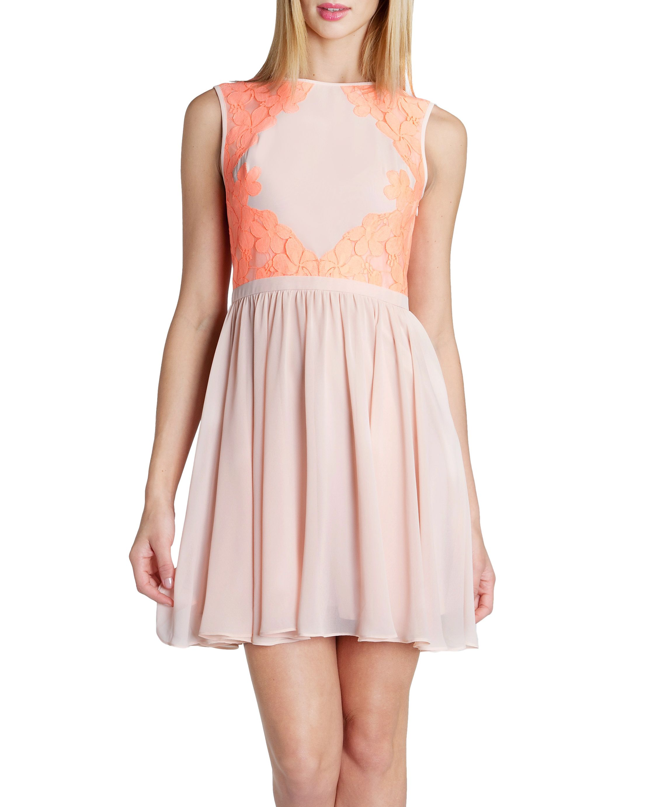 Vember lace colour block dress
