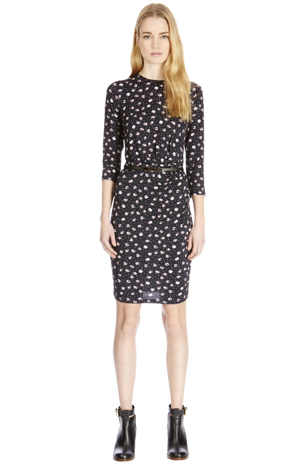 Belted rose spot print dress