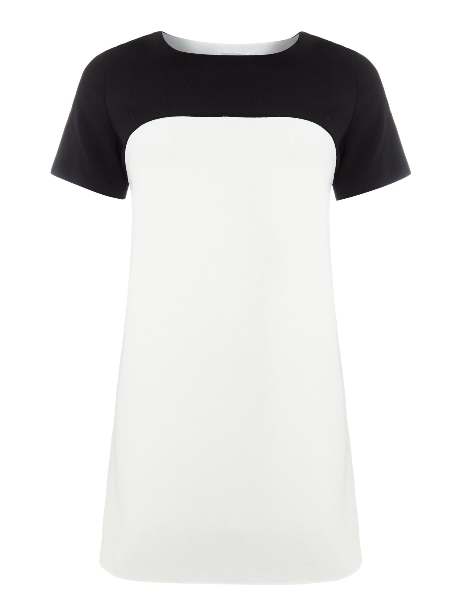 Short sleeved monochrome shift dress