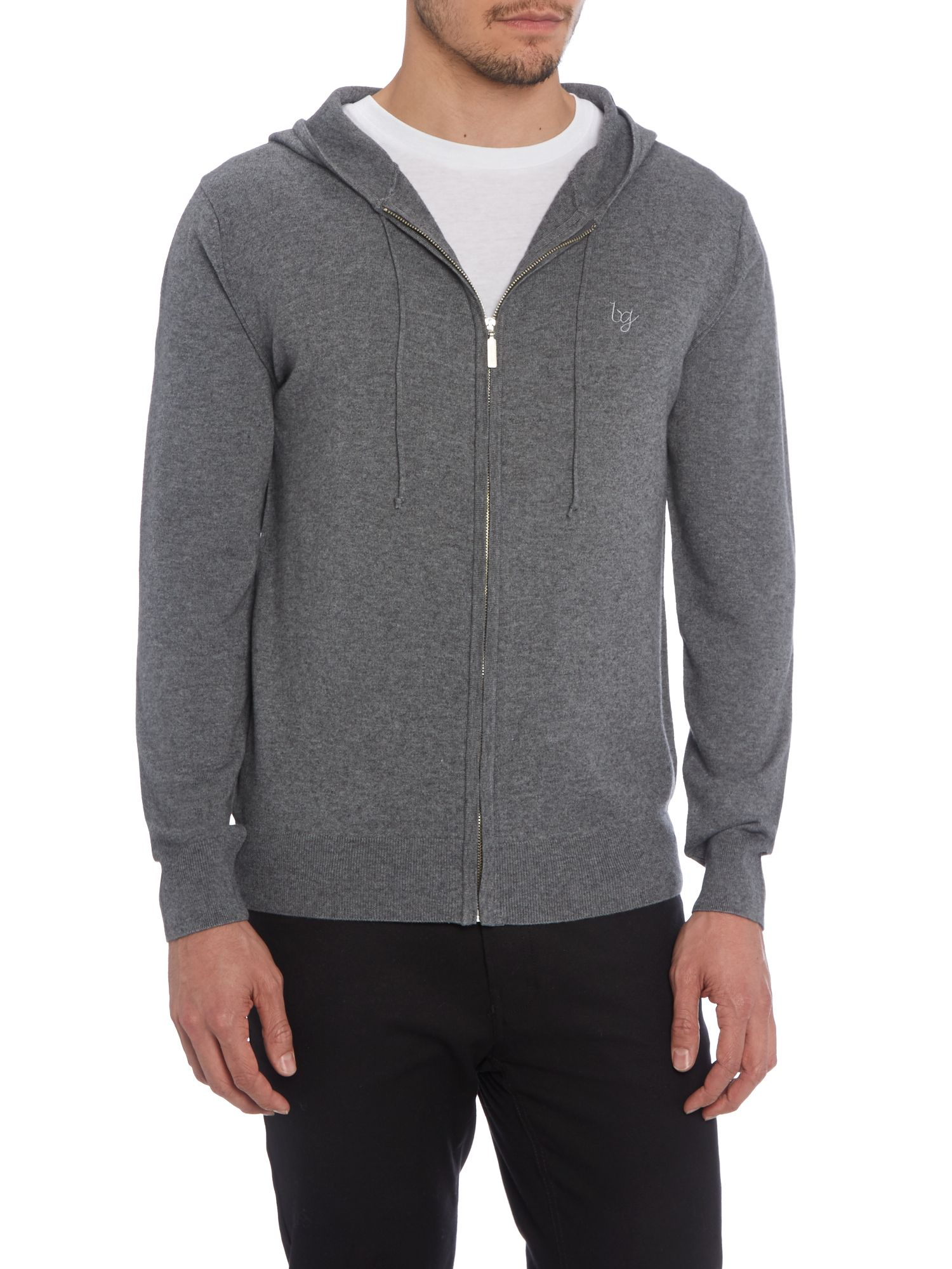 Concealed zip hooded jumper