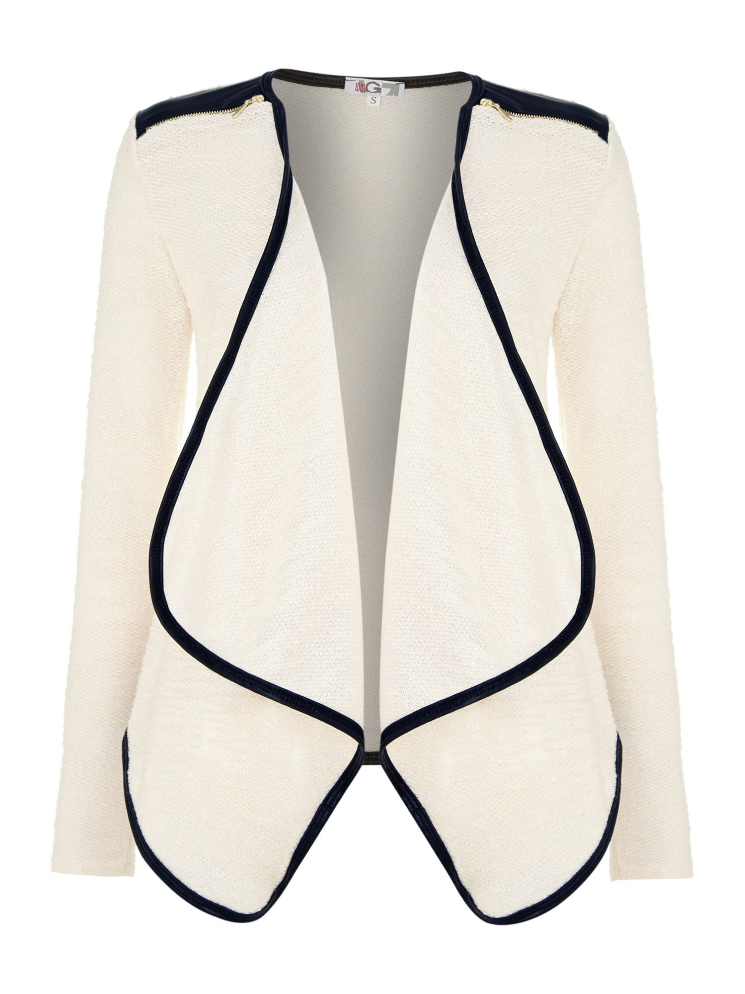 PU Zip shoulder cardigan