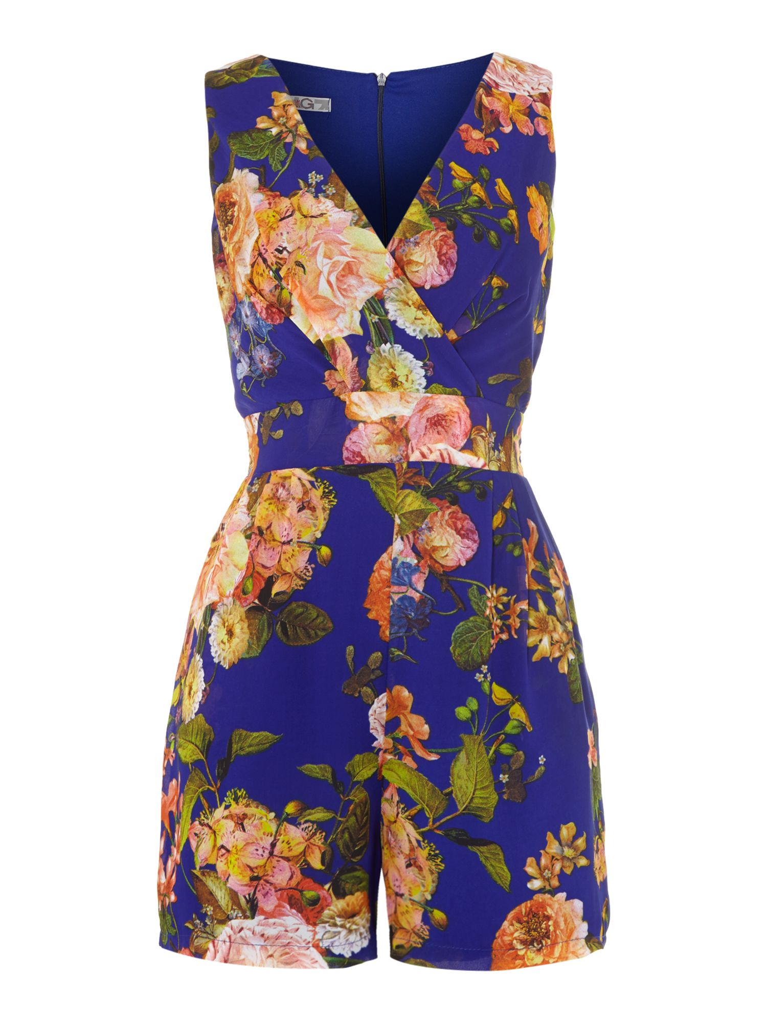 V neck floral playsuit