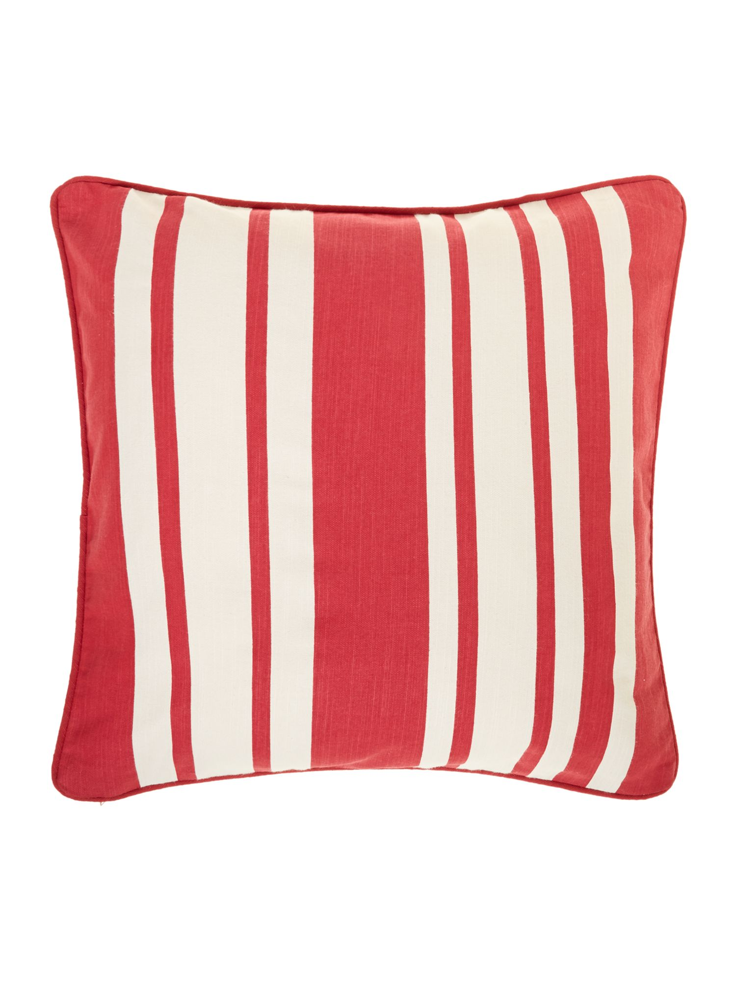 Stripe cotton cushion, red