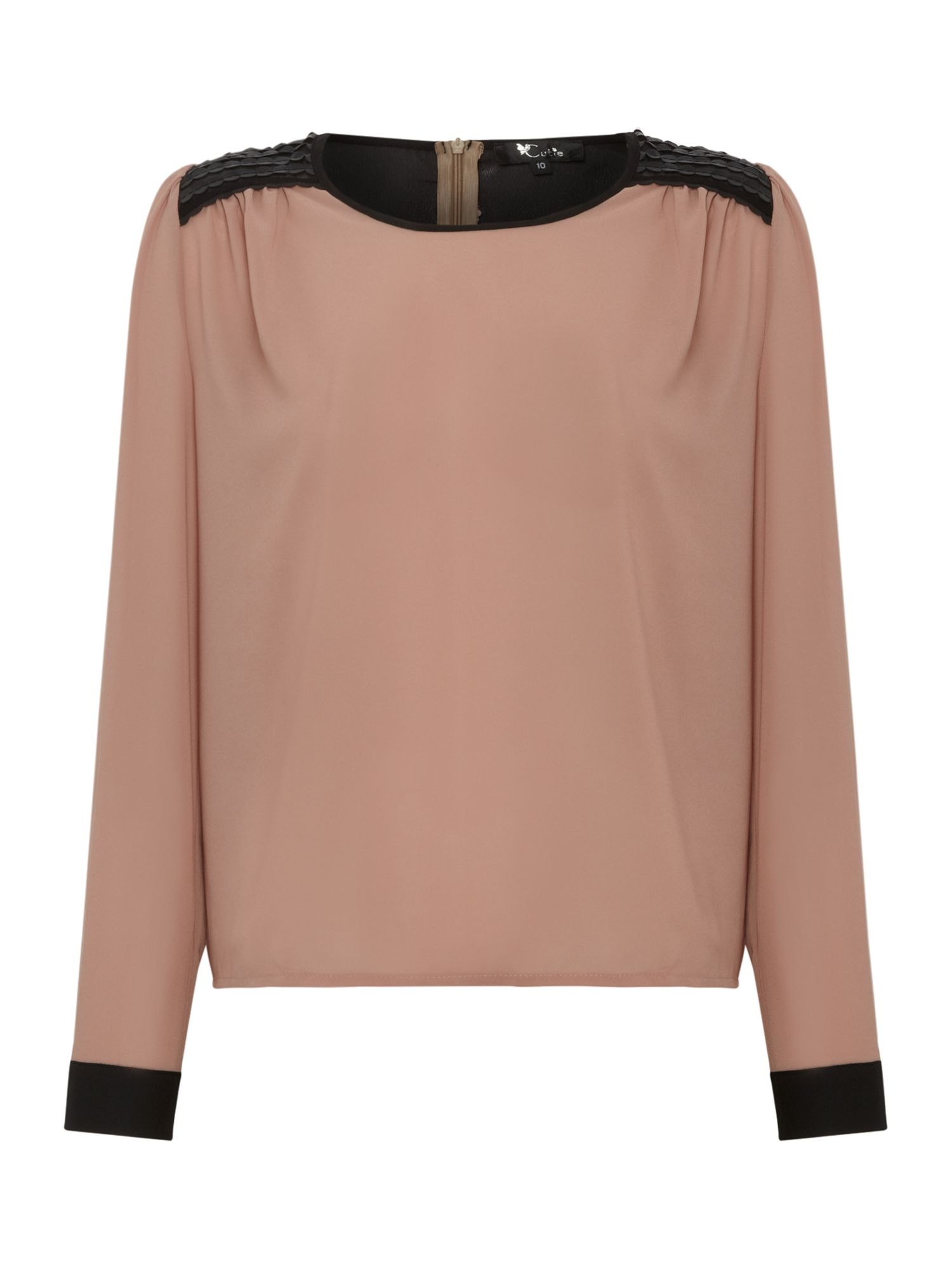 Chiffon shoulder patch blouse