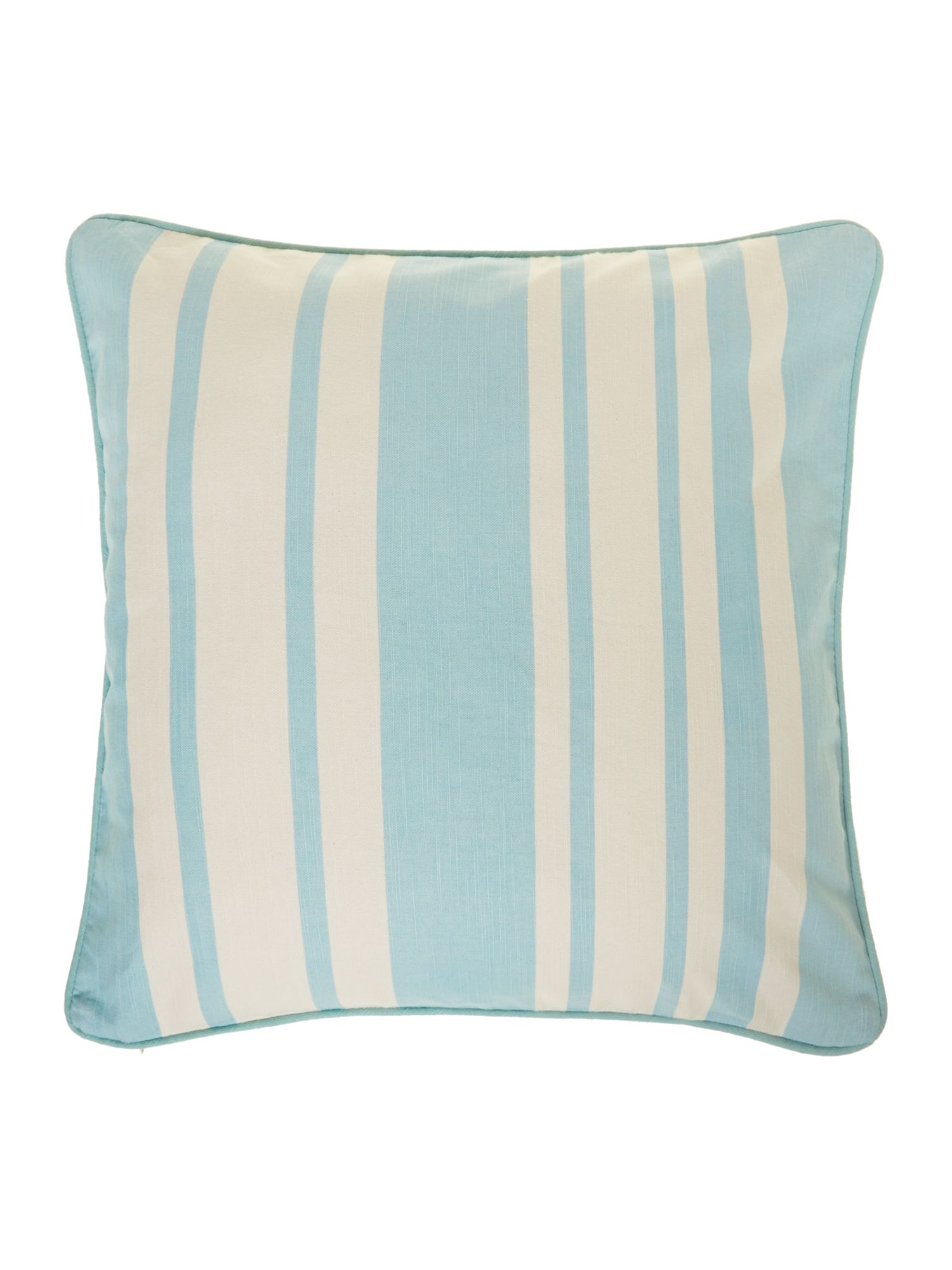 Stripe cotton cushion, Duck egg blue