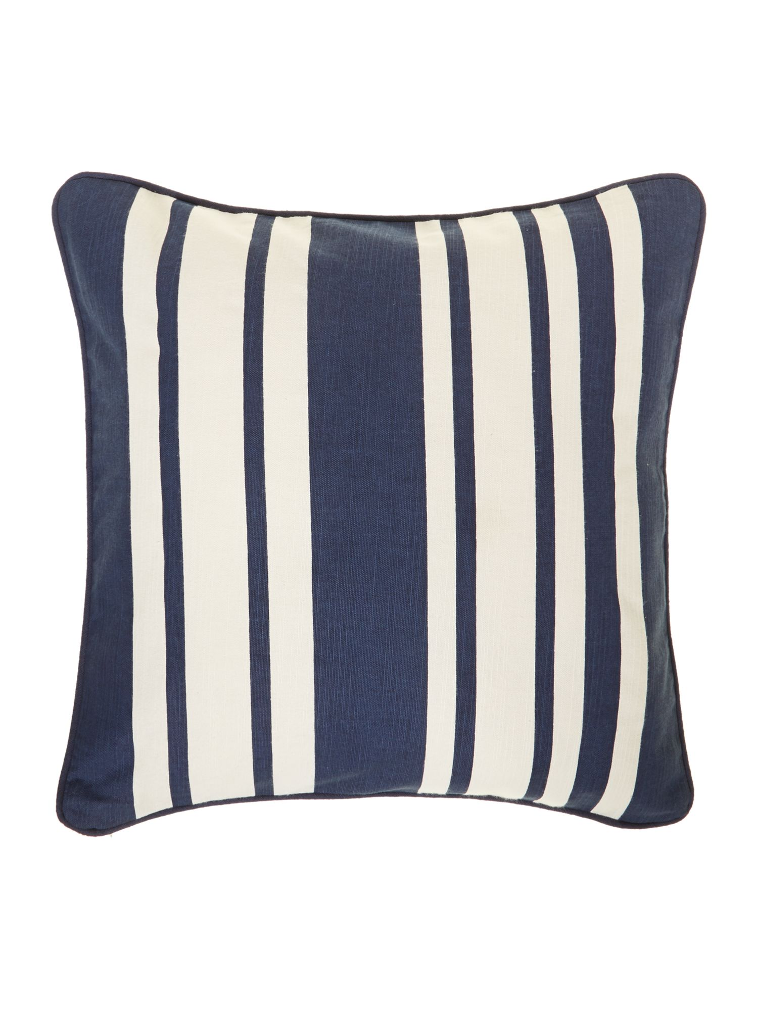 Stripe cotton cushion, Navy blue