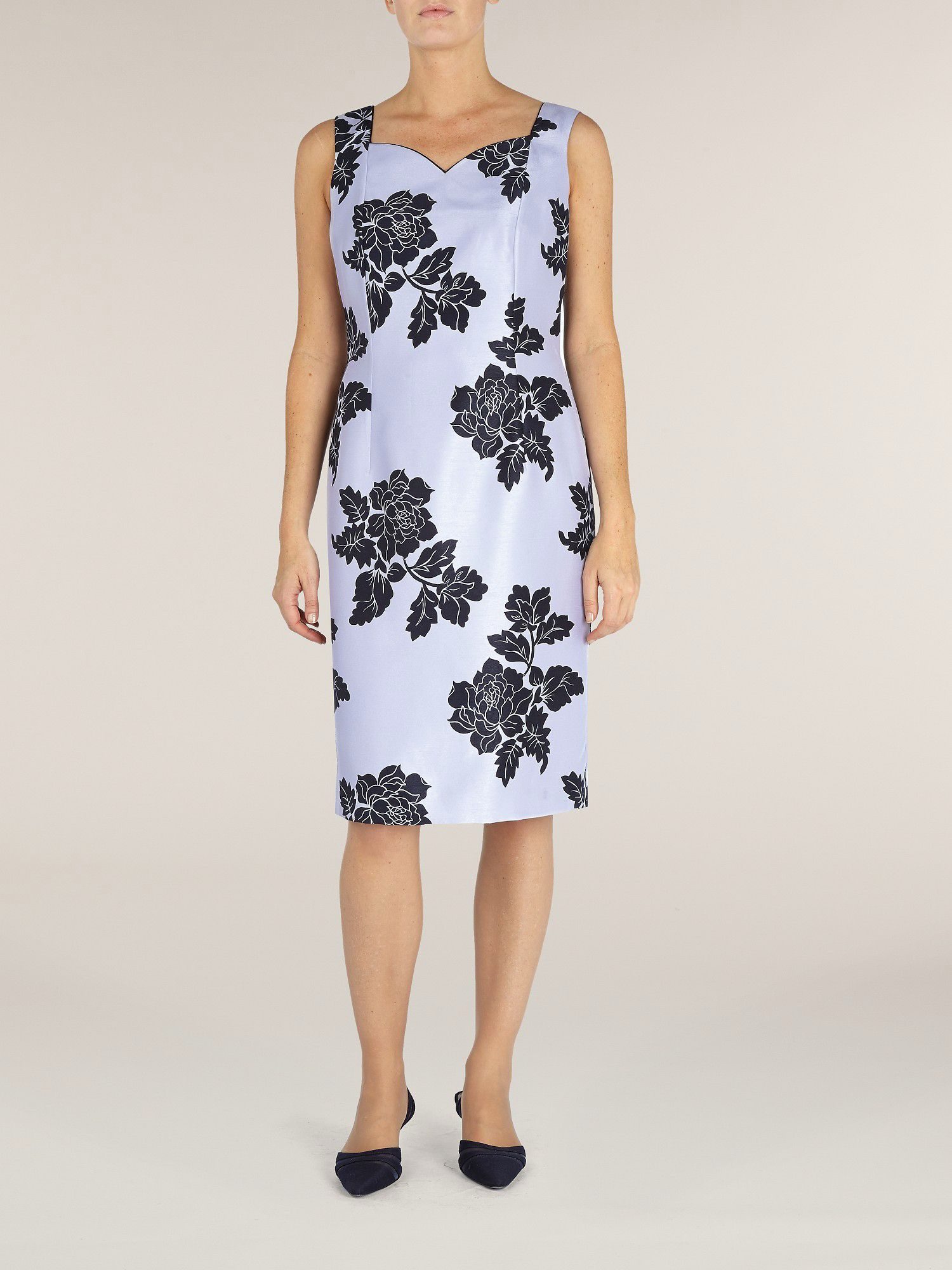 Floral print shantung shift dress
