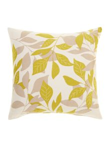 Leaf design cotton cushion, Lime