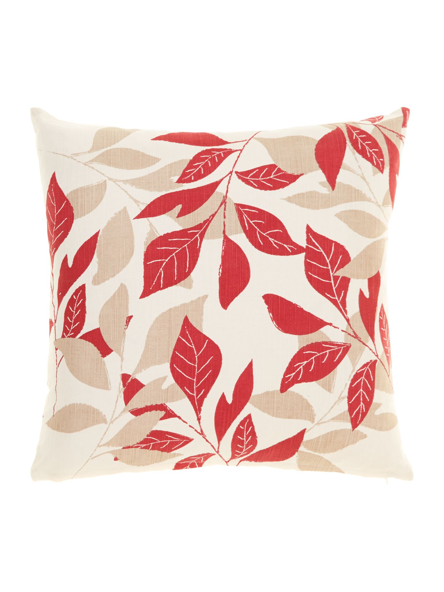 Leaf design cotton cushion, Red