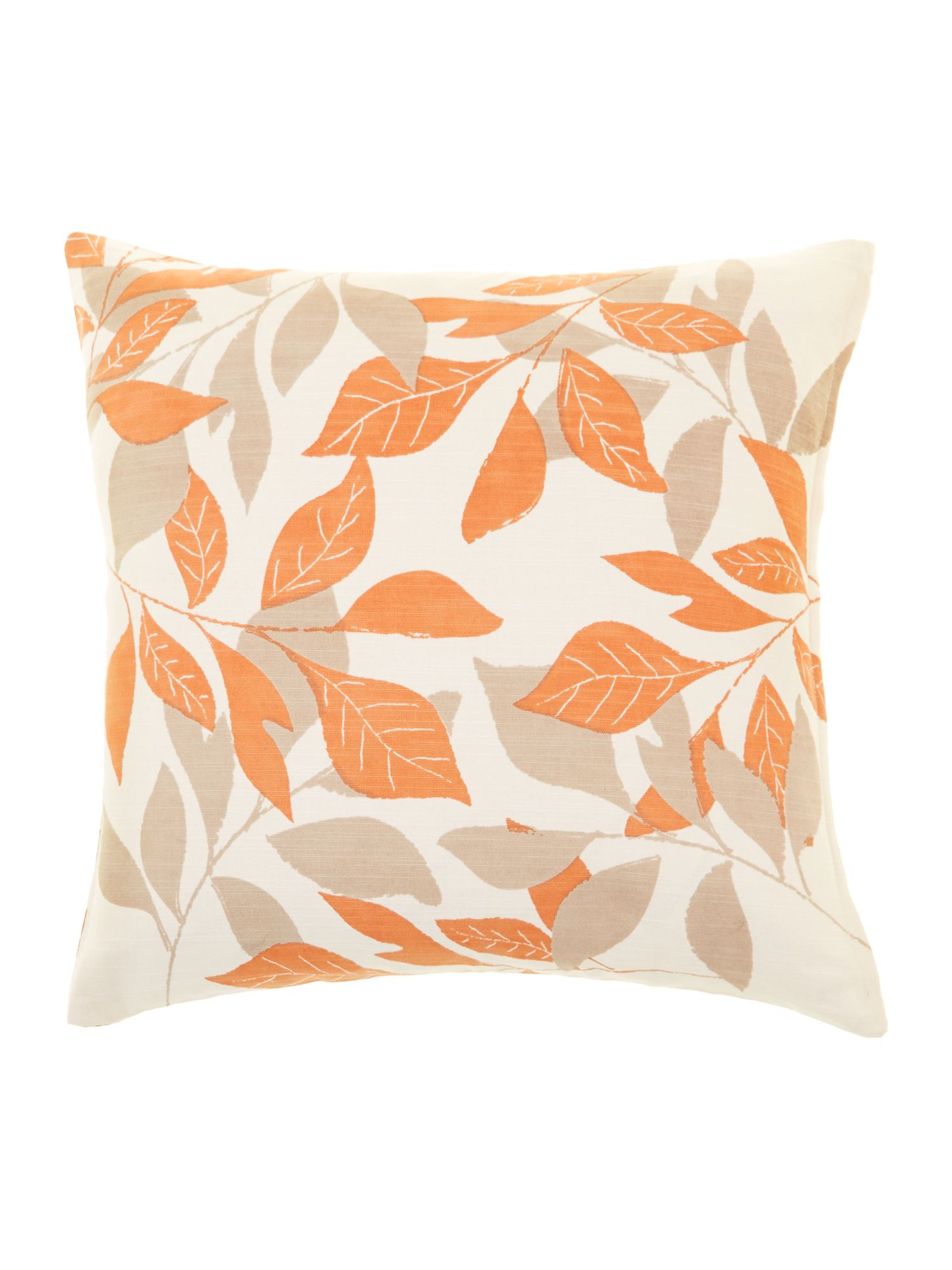 Leaf design cotton cushion, Orange