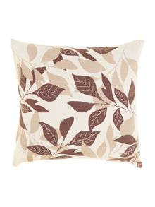 Leaf design cotton cushion, Latte