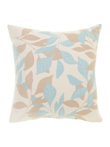 Leaf design cotton cushion, Duck egg