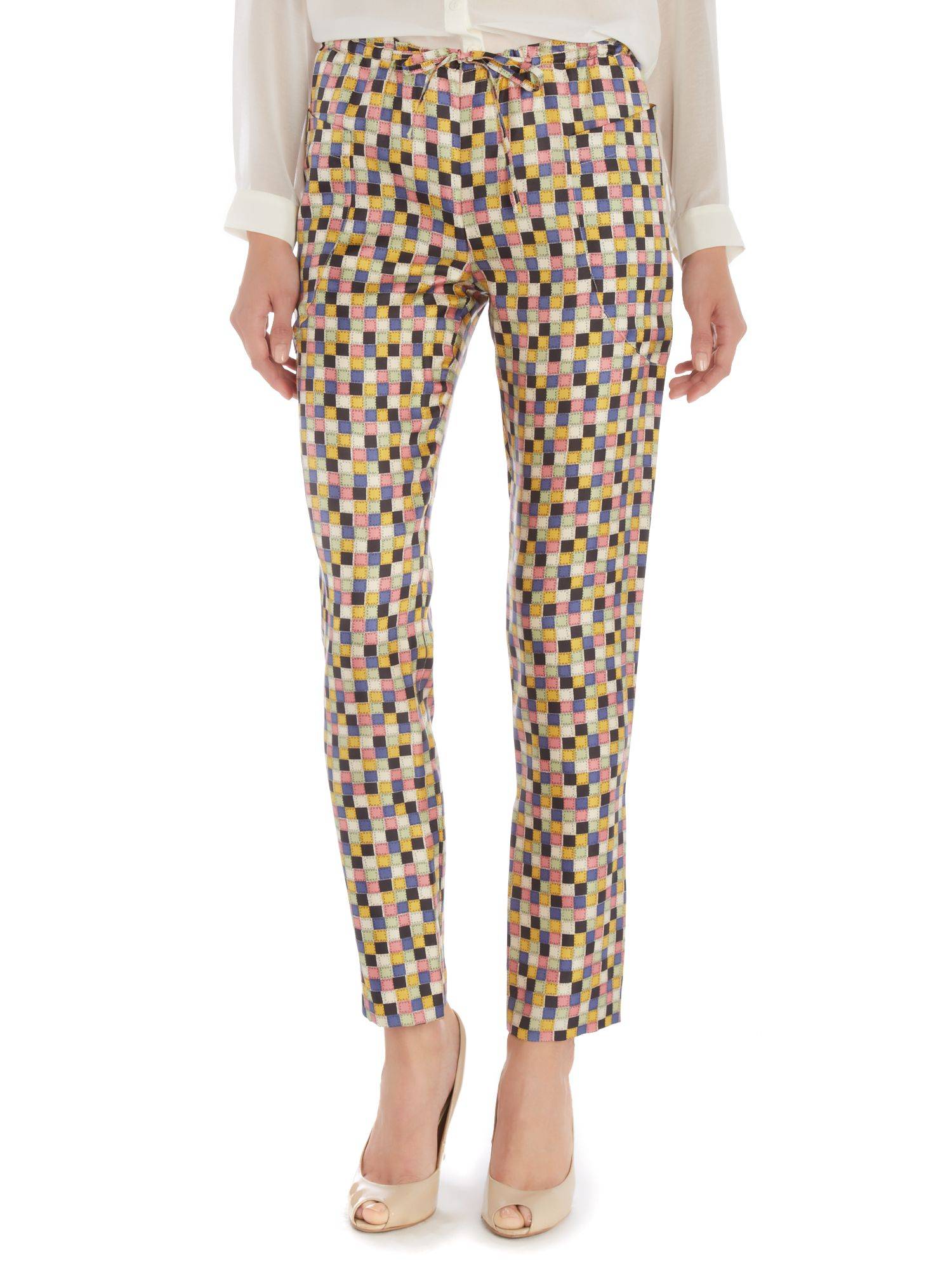 Square print trousers