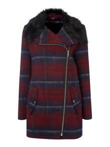 Check fur collar wool coat