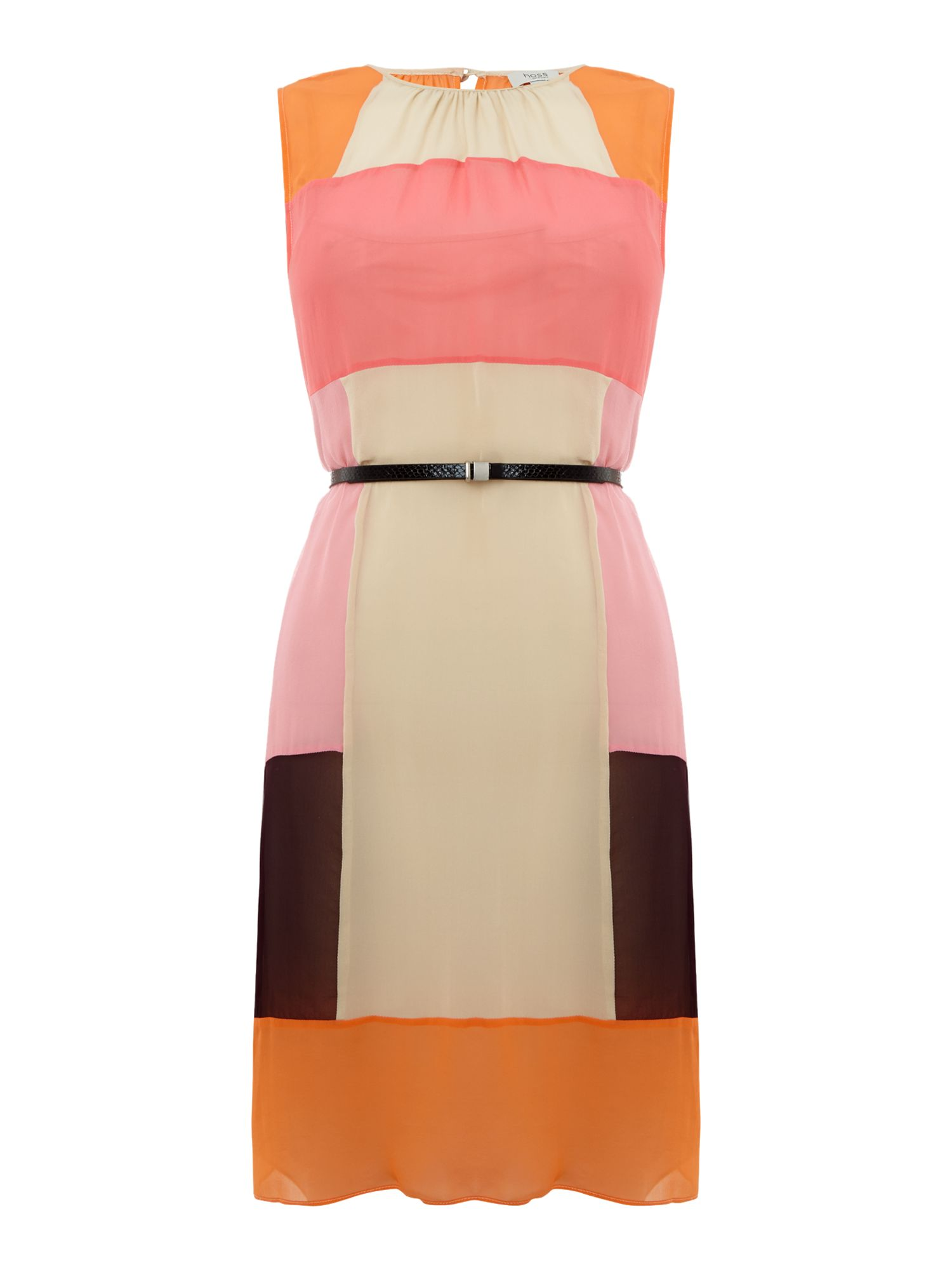 Sleeveless sheer colourblock dress