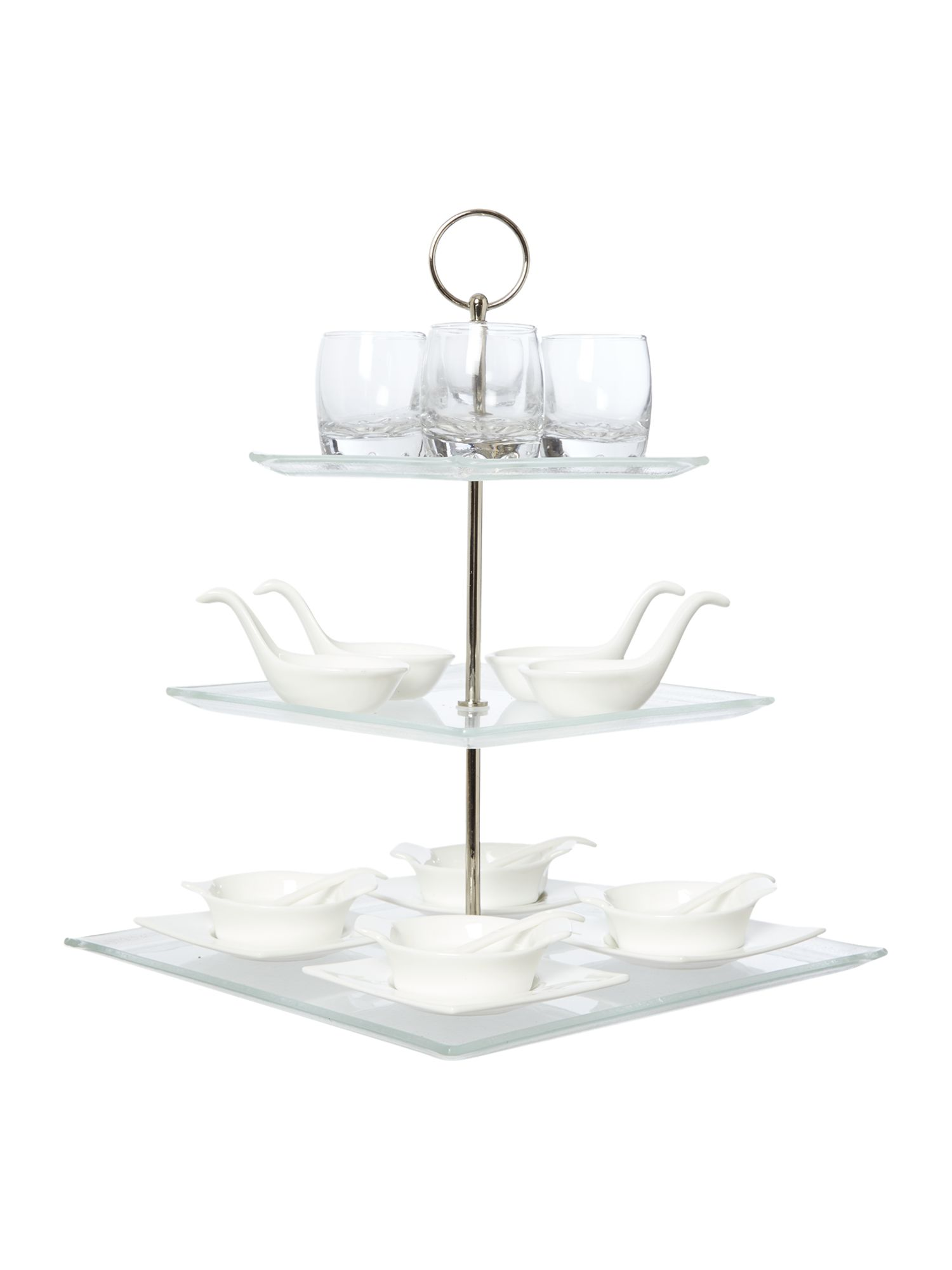 21 piece glass 3 tier appetiser gift set