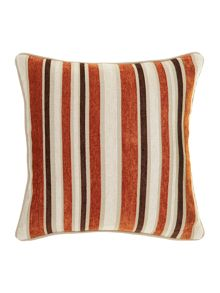 Linea Stripe chenille cushion, Rust