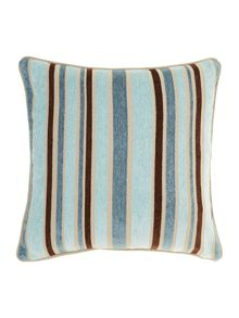 Stripe chenille cushion, Duck egg