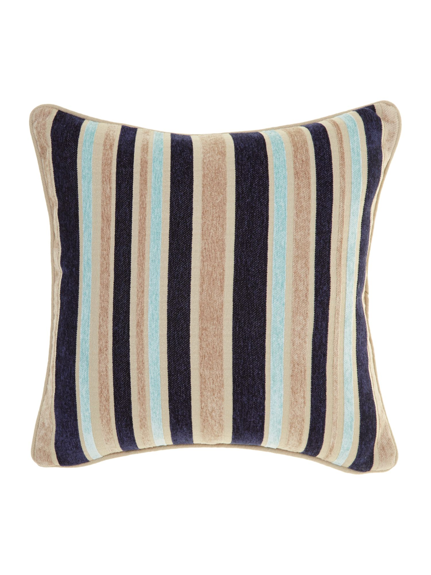 Stripe chenille cushion, Navy blue