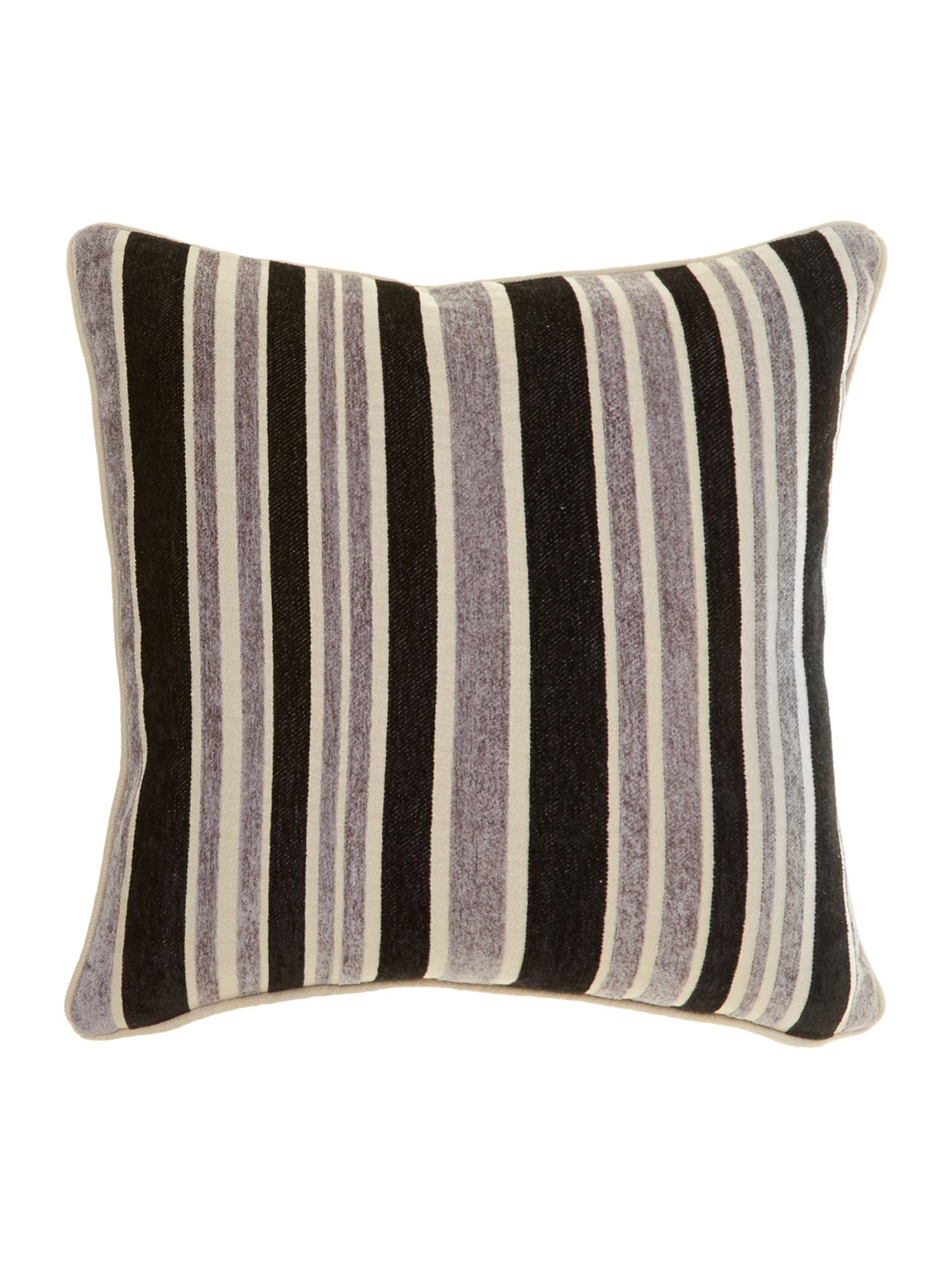 Stripe chenille cushion, Black