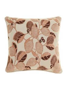 Leaf design chenille cushion, Latte
