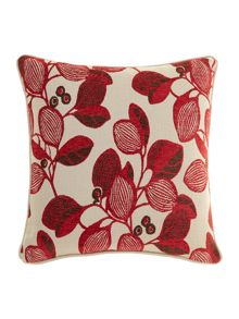 Leaf design chenille cushion, Red
