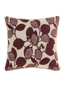 Leaf design chenille cushion, Purple
