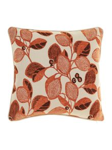 Leaf design chenille cushion, Rust