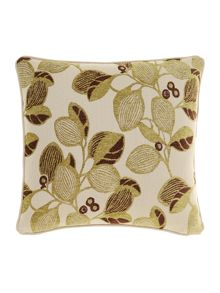 Leaf design chenille cushion, Green