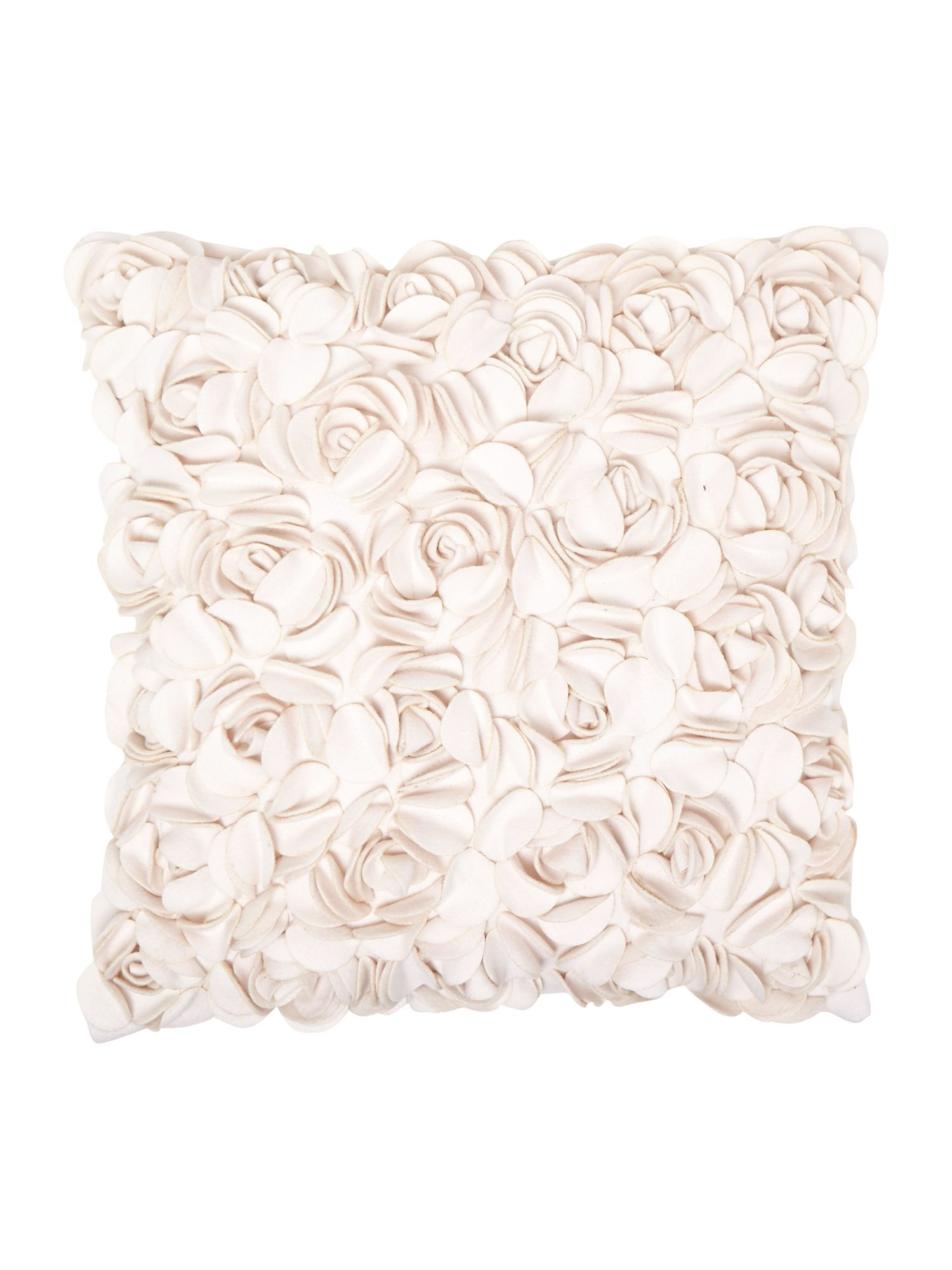 Rose felt cushion, Cream