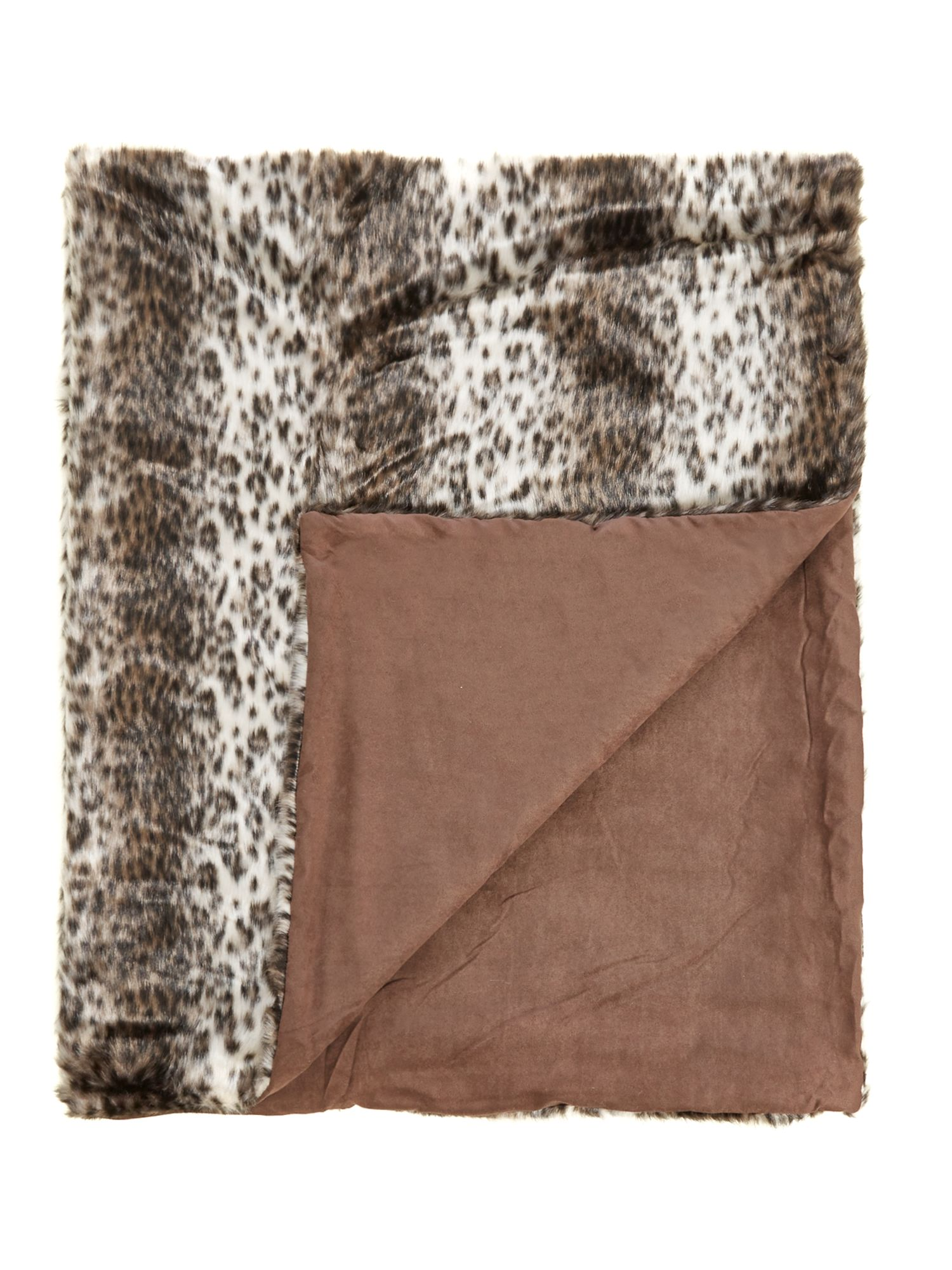 Faux fur leopard fur throw