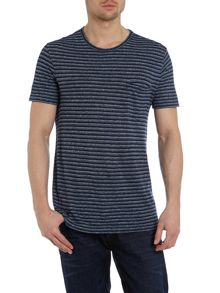 Crew Neck Striped T Shirt With Pocket