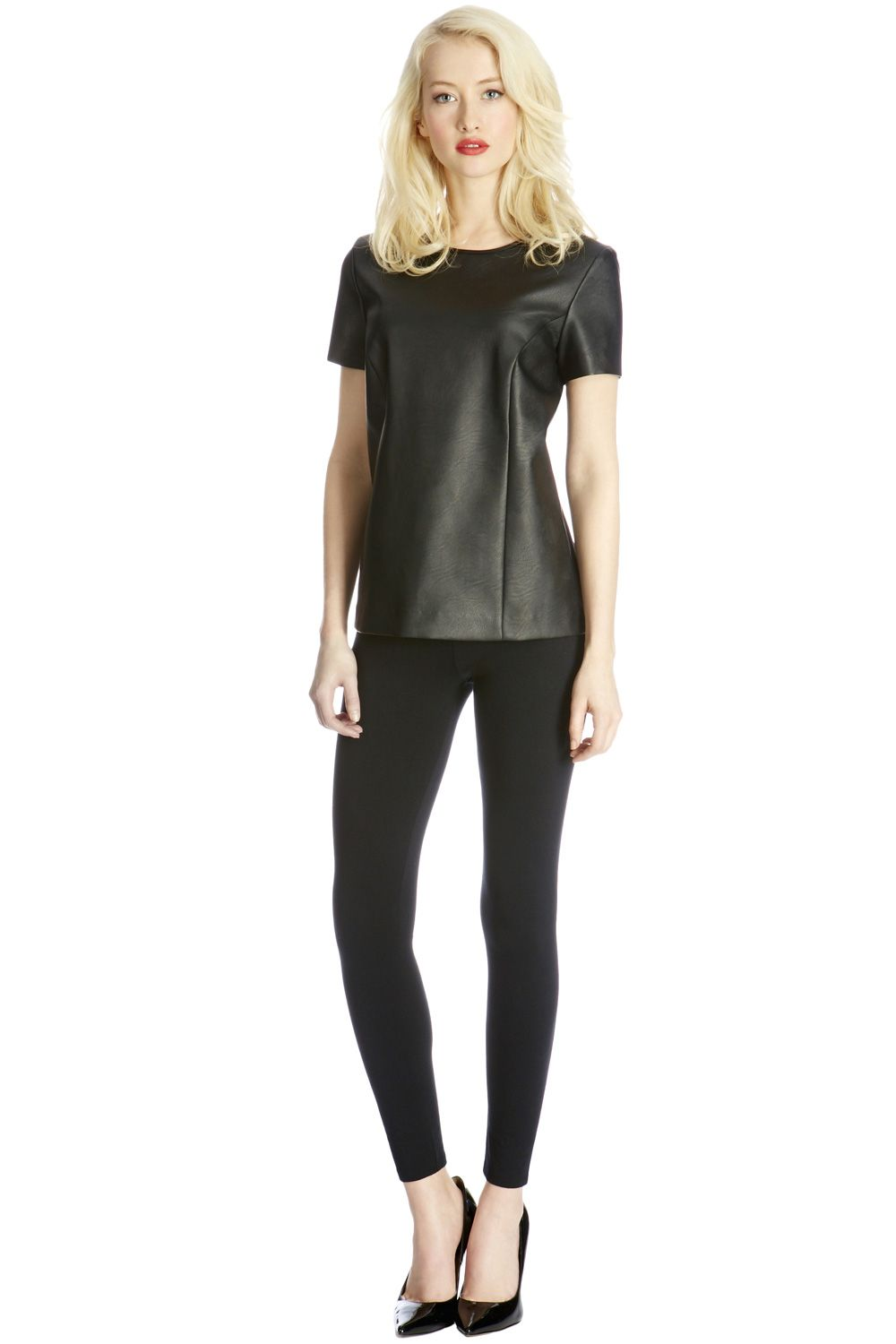Faux leather seamed t-shirt